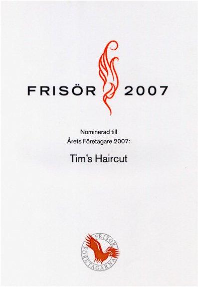 Diplom från när Salongen nominerades till Årets Företagare 2007.