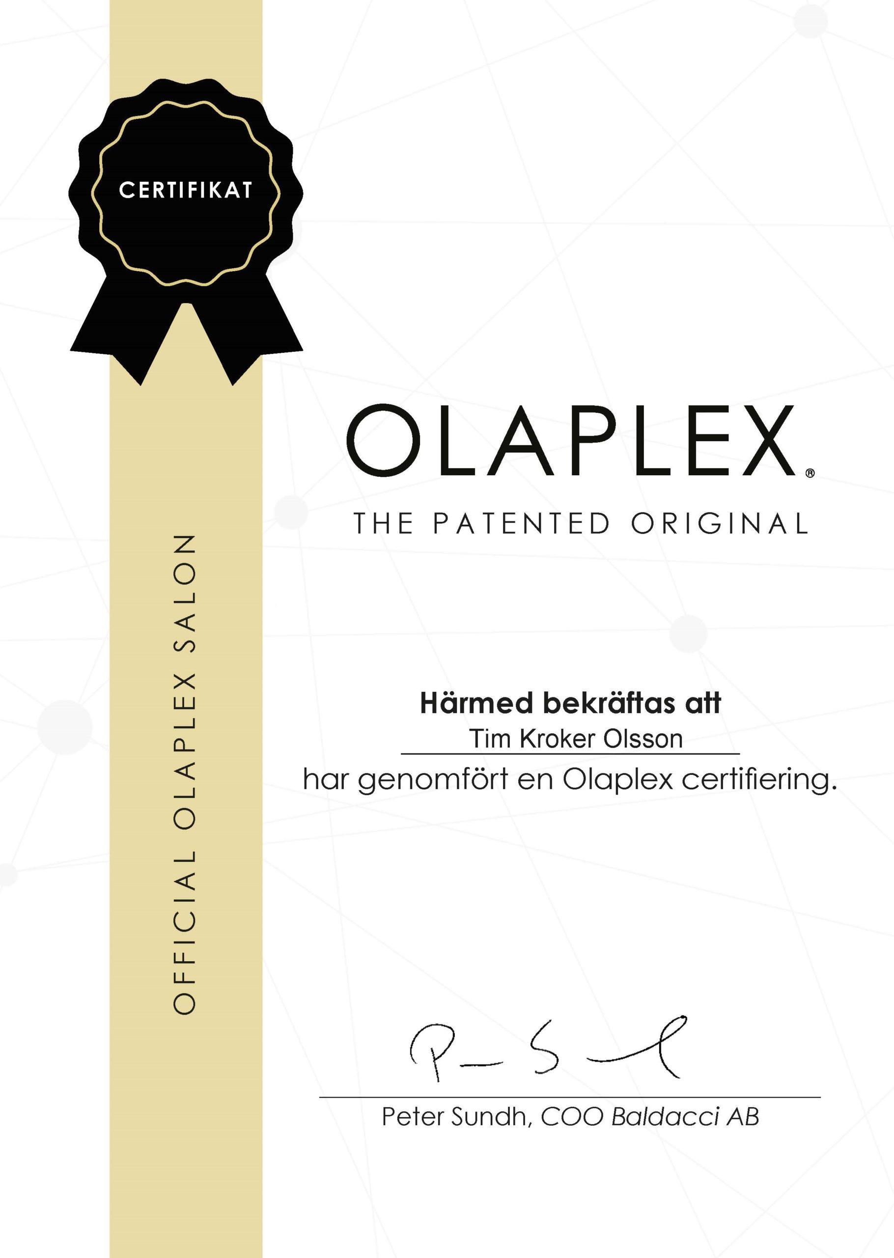 Tim Kroker Olsson Olaplex Certifiering